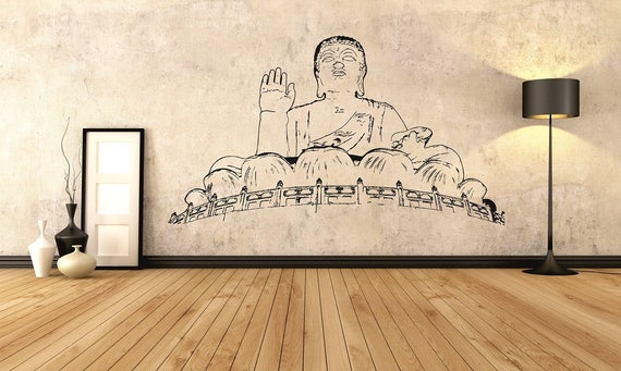 tian tan buddha artistic wall decor hong kong landmark decal | etsy