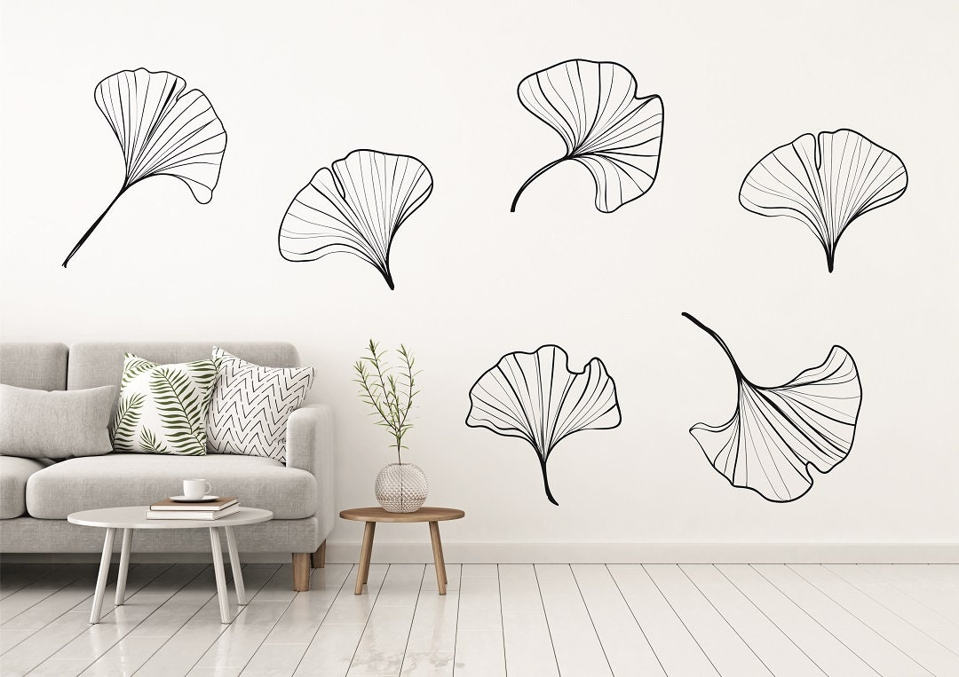 ginkgo leaves wall decal japanese leaves nature stickers