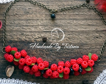 Berries necklace jewelry of polymer clay raspberries pendent blueberries pendent blackberries idea gifts pendant with berries handmade