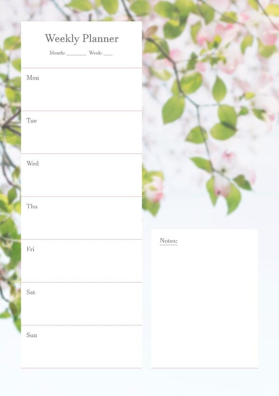 Printable Floral Weekly Planner A4 Vertical Instant Etsy