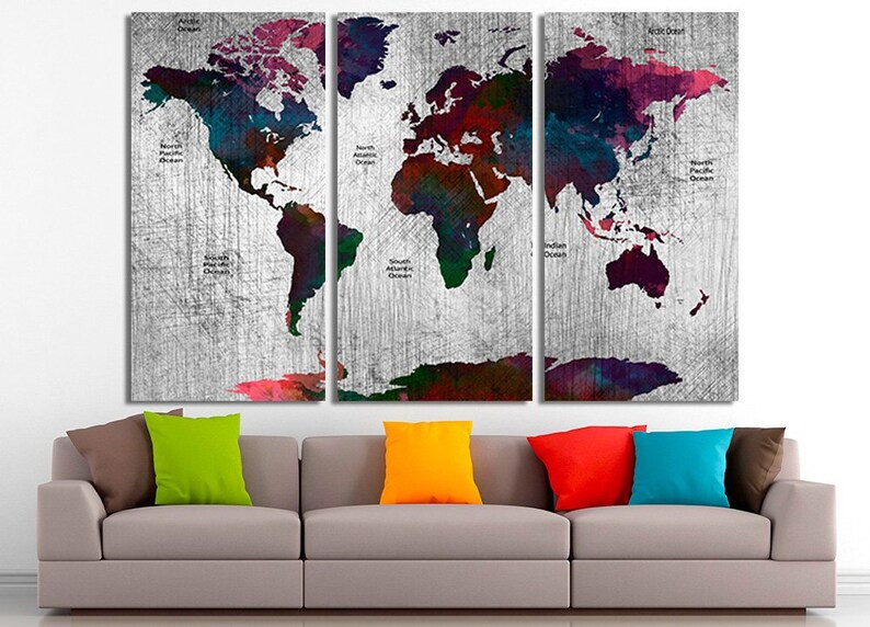 Canvas Painting World Map Canvas Wall Art World Map Decor Etsy