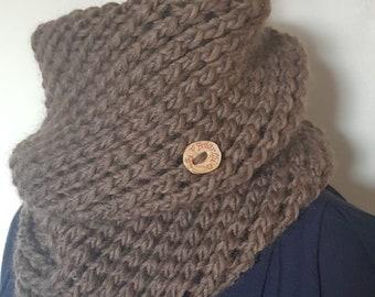 Snood double tour  écharpe tube  tour de cou en 100% laine fine naturelle  tricoté main 4bf7088e047