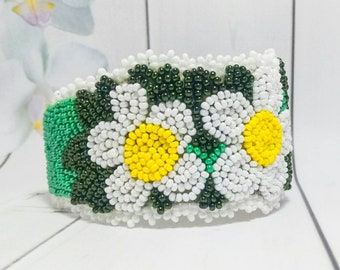 Floral Green Cuff Embroidery bracelet Bead embroidery Multicolor jewelry Bracelet Chamomile Embroidery bead Flower gift