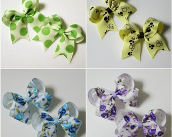 2Set ribbon hair clip / infant /toddler / dot / flower hairclip  / baby ribbon  bows
