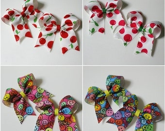 2Set ribbon hair clip / infant /toddler / cherry / smile hairclip  / baby ribbon  bows