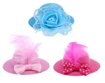 fbdbf3a2e4c 3Pcs Trendy Vintage Round Bowler Doll Hat Caps for 28-30cm Barbie Doll  Headdressing Cotume Clothes Accessories