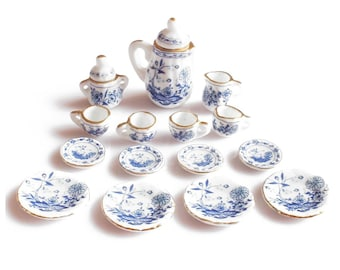 90ba48d6cd511 15pcs British Style 1 12 Dollhouse Miniature Ceramic Dining Ware Porcelain  Tea Set Blue Flower
