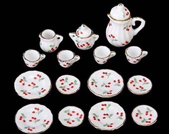 ab2ce78684693 15pcs British Style 1 12 Dollhouse Miniature Ceramic Dining Ware Porcelain  Tea Set Dish Cup Plate Cherry Blue and White Hot Sale