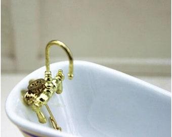 1:12 Gold Metal Door Knocker Lock Doorplate Set Dollhouse Hardware Miniature /_WK