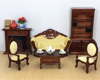 6 Pcs/set 1:12 Furniture Toy For Dolls Brown Miniature Table Chair Bookcase  Sets Wooden Household Pretend Play Toys For Girls Dollhouse