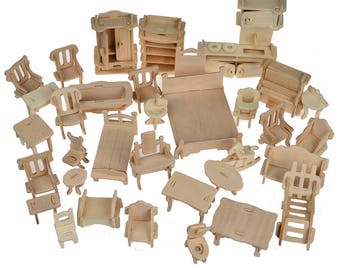 1 set = 34 Pcs. Wooden Doll House FREE shipping Dollhouse Furniture Puzzles 1:12 Scale Miniatures Models DIY Accessories