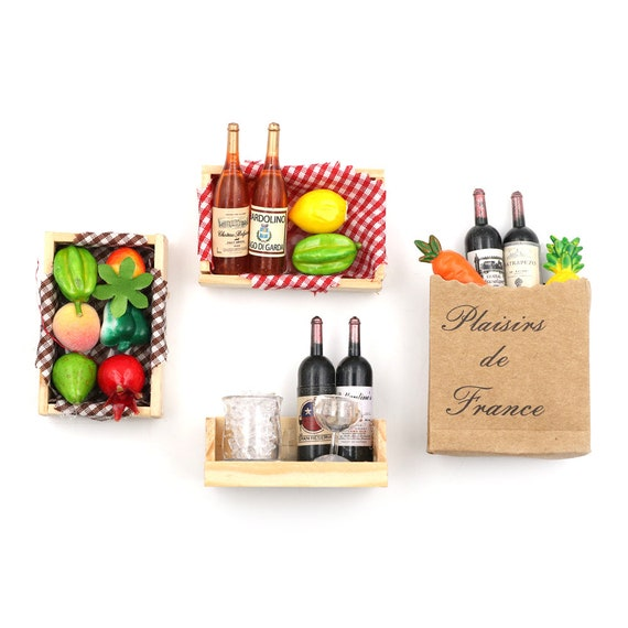 4Pcs 1:12 Dollhouse Miniature Fruit Wine Cups Pretend Play Dollhouse Accessory H