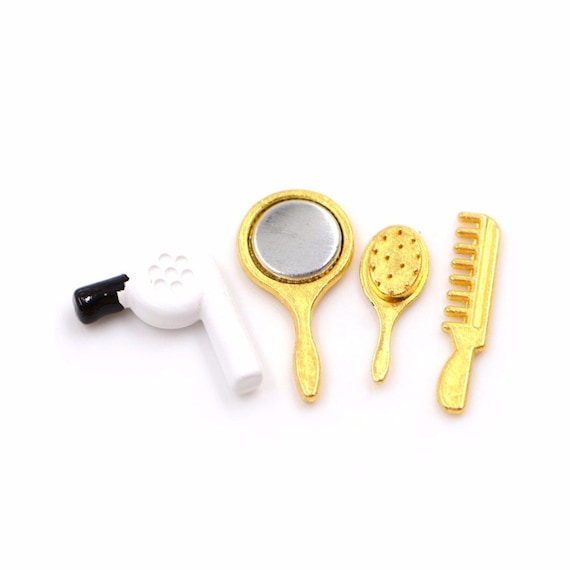 12th Dollhouse Miniature Comb Hair Dryer /& Mirror Gold and White Set of 4pcs
