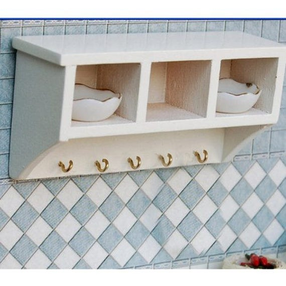 Dollhouse Miniature Kitchen Wood Wall Rack 1:12 Doll House Decoration Accessorie