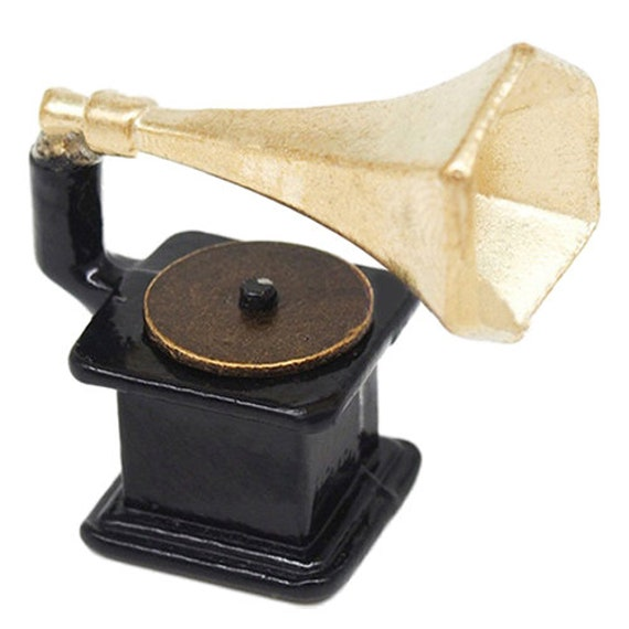 Handmade Mini Phonograph Music Recorder Doll House Toy 1:12 Miniature Furniture