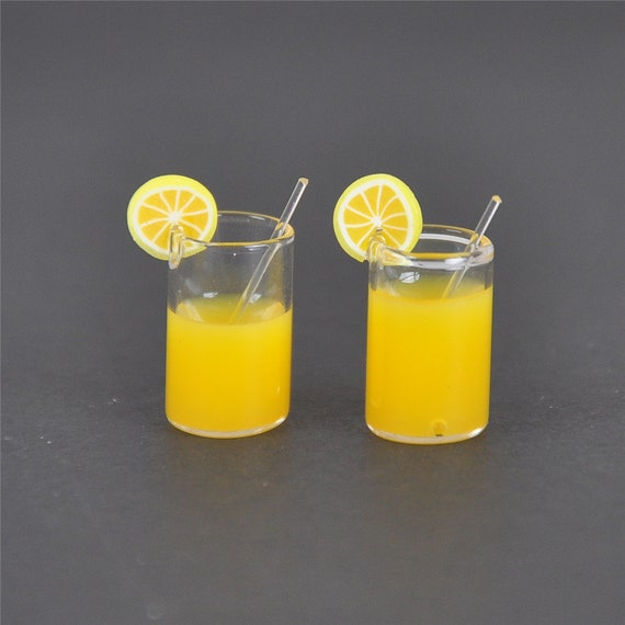 Miniature Lemon Water Drink Cup Accessories For 1:12 Dollhouse Toy Decoration