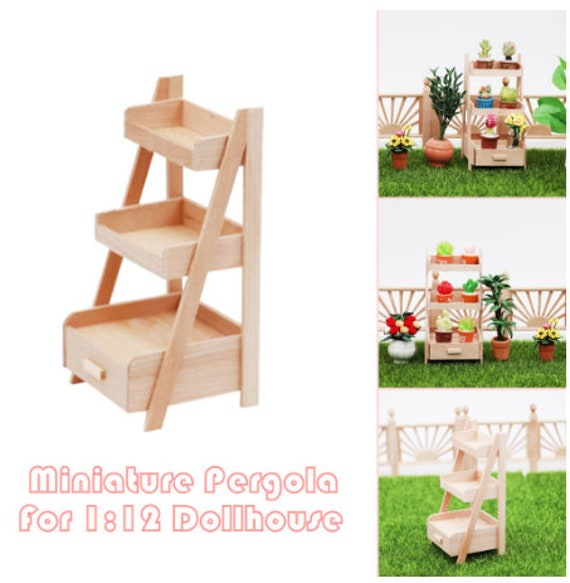 4Pcs//set Cute Wooden Miniature Ladder Dollhouse Decor Mini Furniture Accessory D