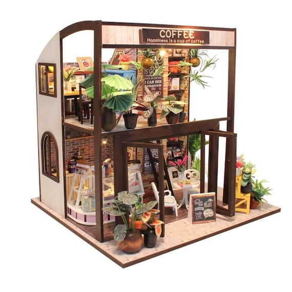 FREE Shipping Furniture DIY Doll House Wooden Miniature Etsy Enchanting Shipping Furniture Model