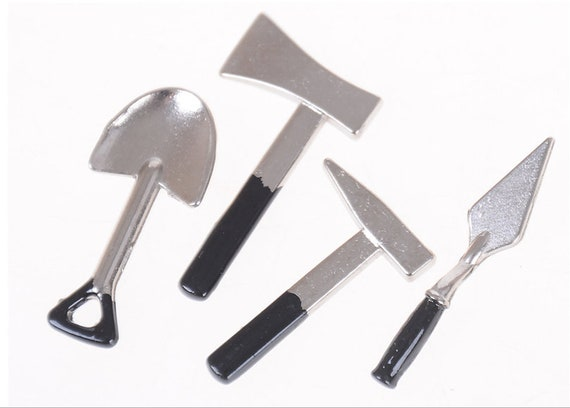 Dollhouse Miniature 1:12 Toy 3 Pieces Of Tools Axe Hammer 2018.