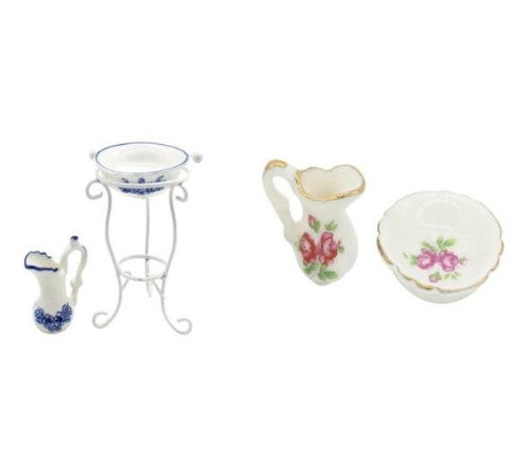 1//12 Dollhouse Miniature Porcelain Water Pot Washbasin Bathroom Accessories