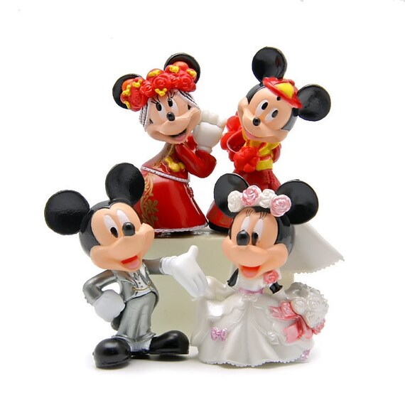 Mickey And Minnie Wedding.4pcs Lot Mickey Minnie Figures Wedding Style Mickey Minnie Pvc Action Figure Toys Doll Collection Model Toy For Wedding Decor Fairy Garden