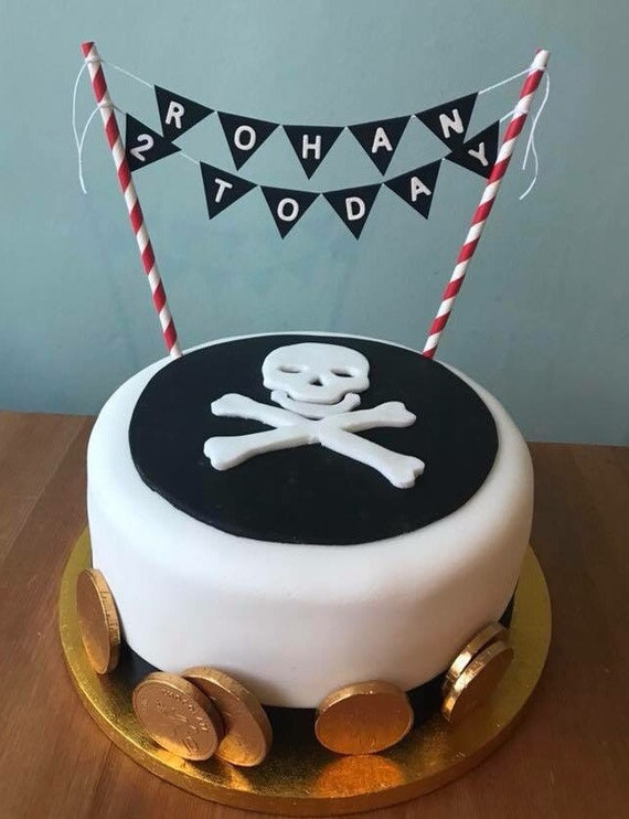 Incredible Pirate Themed Cake Bunting Cake Topper Swash Buckle Jake Etsy Funny Birthday Cards Online Elaedamsfinfo