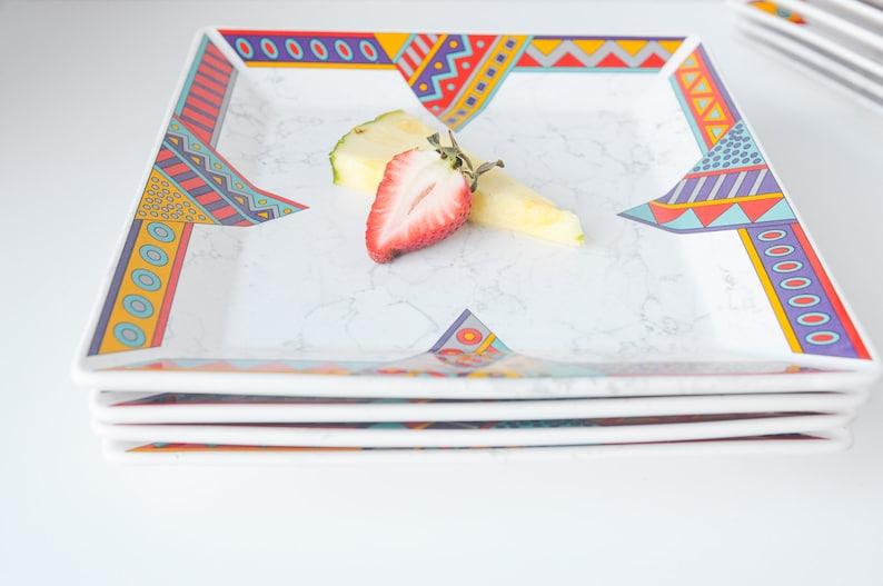 Post Modern Vintage Waechtersbach Dinner /& Side Plates  WAE5 Decor Pattern  Eighties 80s Home  Made in Germany  Unique Vintage Find