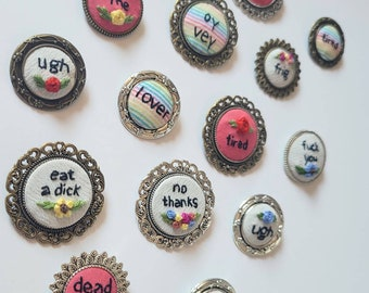 Hand embroidered pin