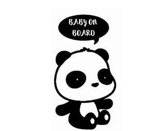 Baby On Board Decal | Baby on Board Sticker | Baby on Board Car Sticker | Baby Panda Stickers
