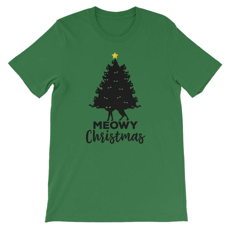 25ee9efd4 Merry Meowy Christmas Tree Funny Holiday Cat Lover T-Shirt | Etsy