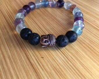 Clarity Fluorite 8mm Mala bead bracelet