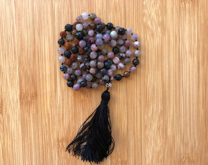 108 Tourmaline 8mm mala bead essential oils lava bead hand-knotted necklace