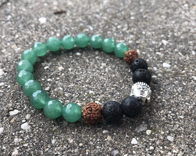Heart to heart connection: green aventurine 8mm mala beads with lava beads with lotus