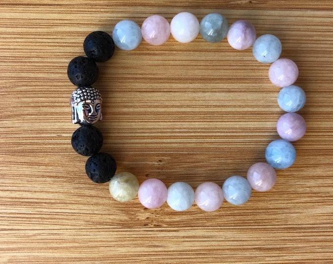 Morganite 8mm mala bead essential oil lava beads bracelet