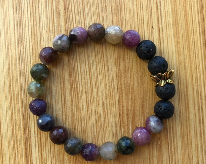 Tourmaline 8mm mala bead essential oil lava bead bracelet