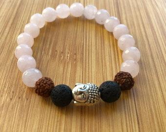 Simple bliss with rose quart 8mm mala bead essential oil lava bead bracelet