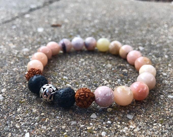 Pink opal 8mm mala bead lava bead beads bracelet