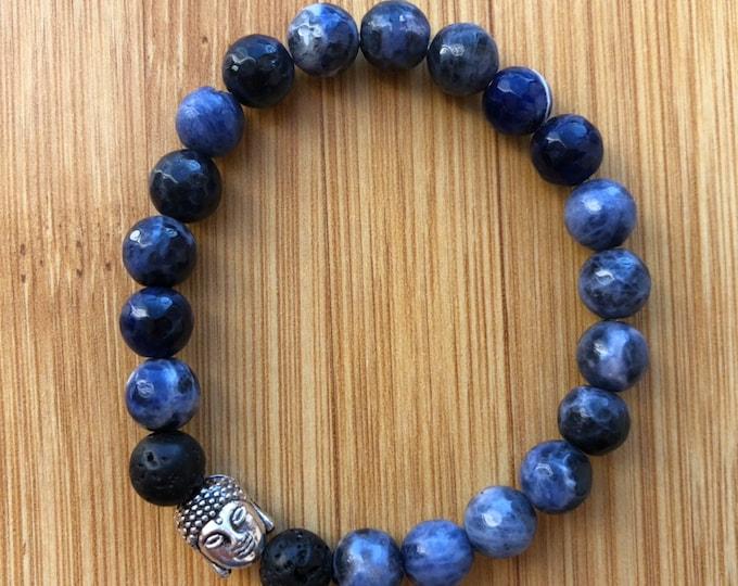 True blue sodalite 8mm mala bead essential oil lava bead bracelet