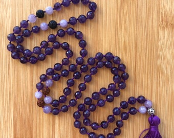 108 Amethyst 8mm mala bead essential oil lava bead hand-knotted necklace
