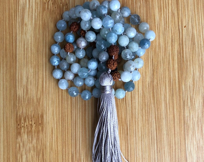 Truth is my power  108 Aquamarine 8mm mala bead lava bead hand-knotted necklace
