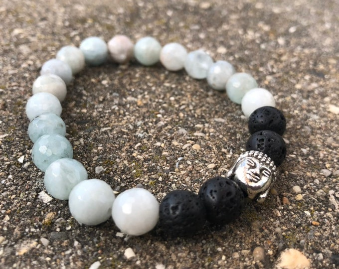 Heartfelt Truth: Multi-color aquamarine 8mm mala bead and lava beads and buddha head