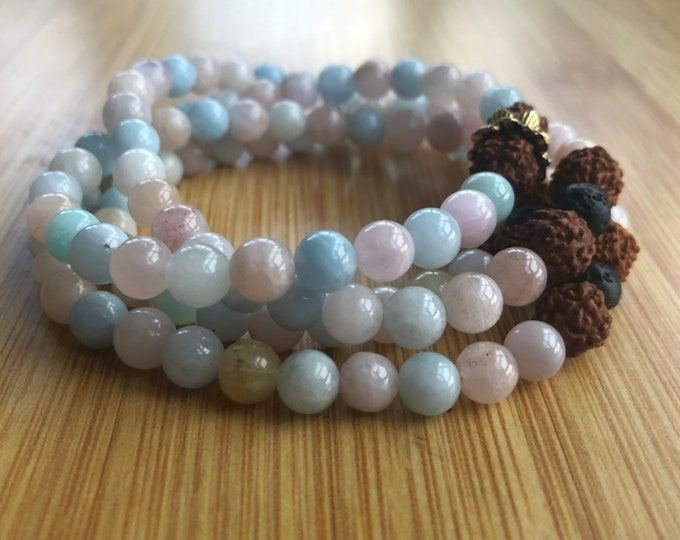 Be Young At Heart Always Morganite 6mm mala bead bracelet/necklace wrap