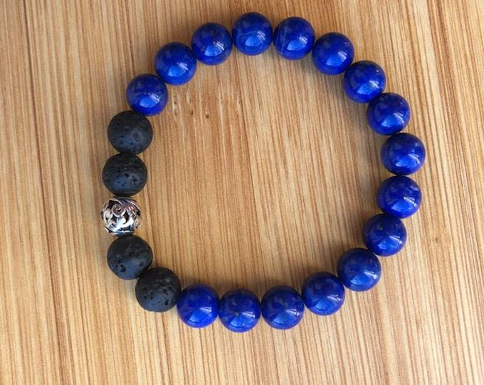 Live like a Royal Blue Lapis Stone mala bead bracelet