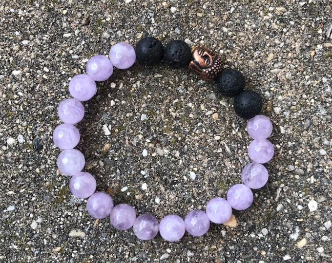 Amethyst 8mm mala bead lava buddha bead bracelet