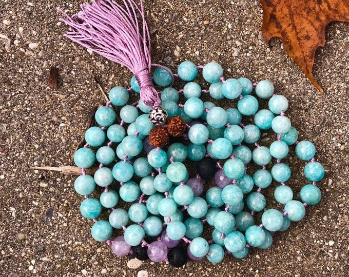 Amazonite and Amethyst 8mm mala beads Essential Oil Lava Beads 108 beaded necklace