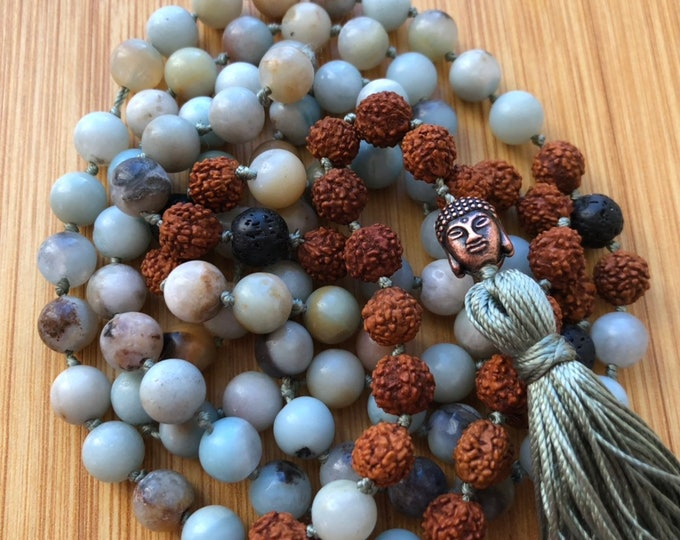 Matte 108 natural amazonite 8mm mala bead essential oil lava bead hand-knotted necklace