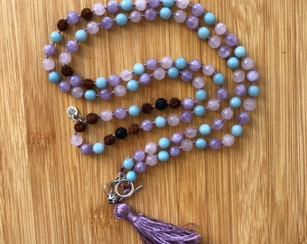 Tri-color 108 Amethyst, Rose Quartz, & Amazonite 8mm mala bead Essential Oil Lava Bead Hand-Knotted Necklace with detachable tassle