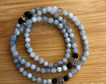 Purifying my world with aquamarine 6mm mala bead essential oil lava bead necklace/bracelet wrap