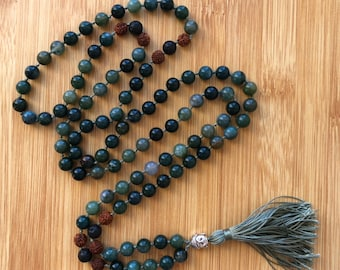 Lucky 108 Green Moss Agate 8mm mala beads essential oil lava bead hand-knotted necklace
