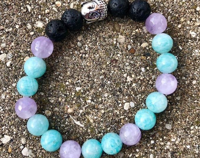 Amethyst and Amazonite 8mm mala beaded bracelet